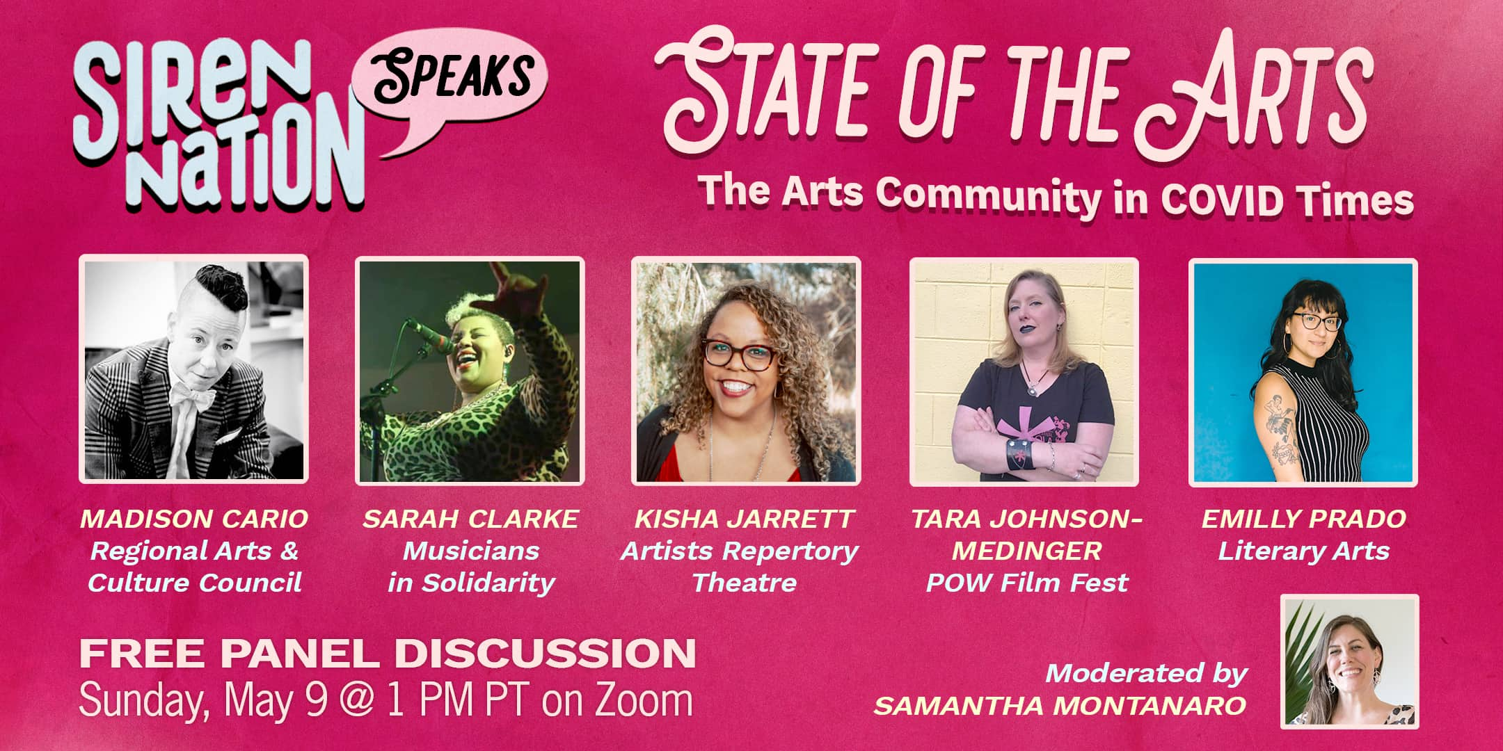 Header image for event page, Siren Nation Speaks: The State of the Arts in Covid Times