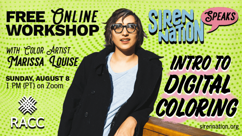 Promotional image for a digital coloring workshop, with text and photo of a woman